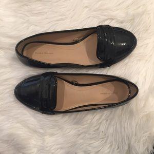 Zara Trafaluc Black Patent Leather Loafers
